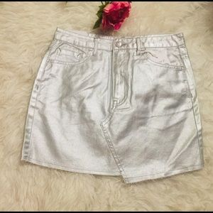 NWT Silver Metallic Denim Mini Skirt. Size M